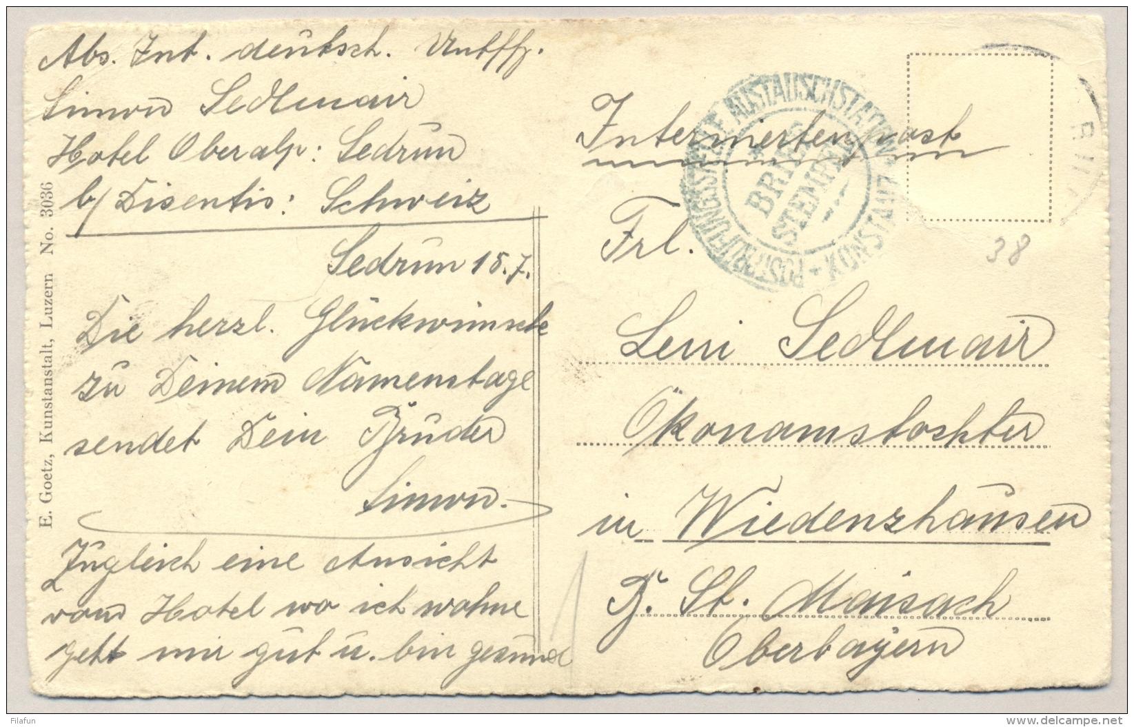 Schweiz - POW-Postcard Internierten Ortschef Sedrun, Censored Konstanz To Oberbayern - Documenten