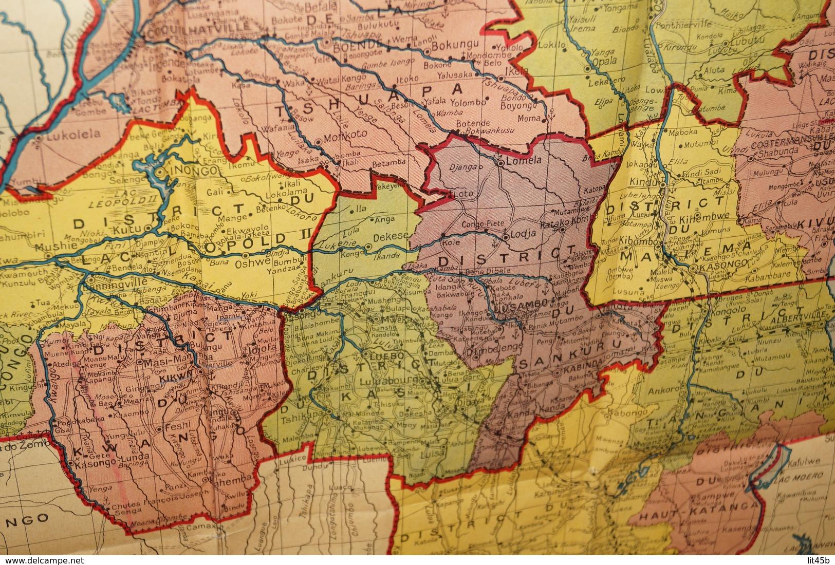 Afrique,grande Carte Ancienne,dressée Par J.Flamme,dessin De Fr.Menger,85 Cm. Sur 56 Cm. - Geographical Maps