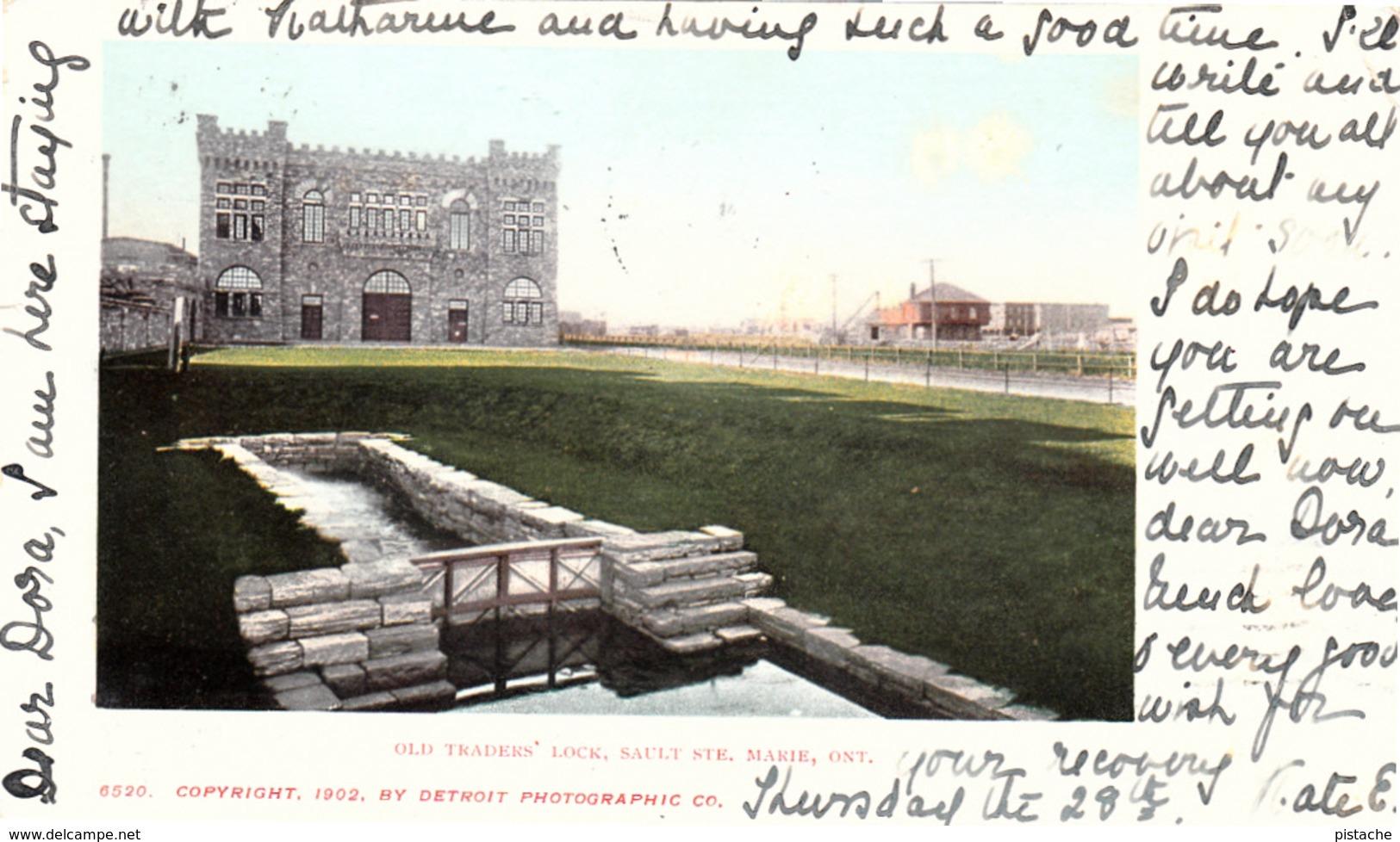 Sault Ste. Marie Ontario - Old Traders Lock - Antique 1902-1905 Postcard - Stamp & Postmark - Undivided Back - 2 Scans - Ontario