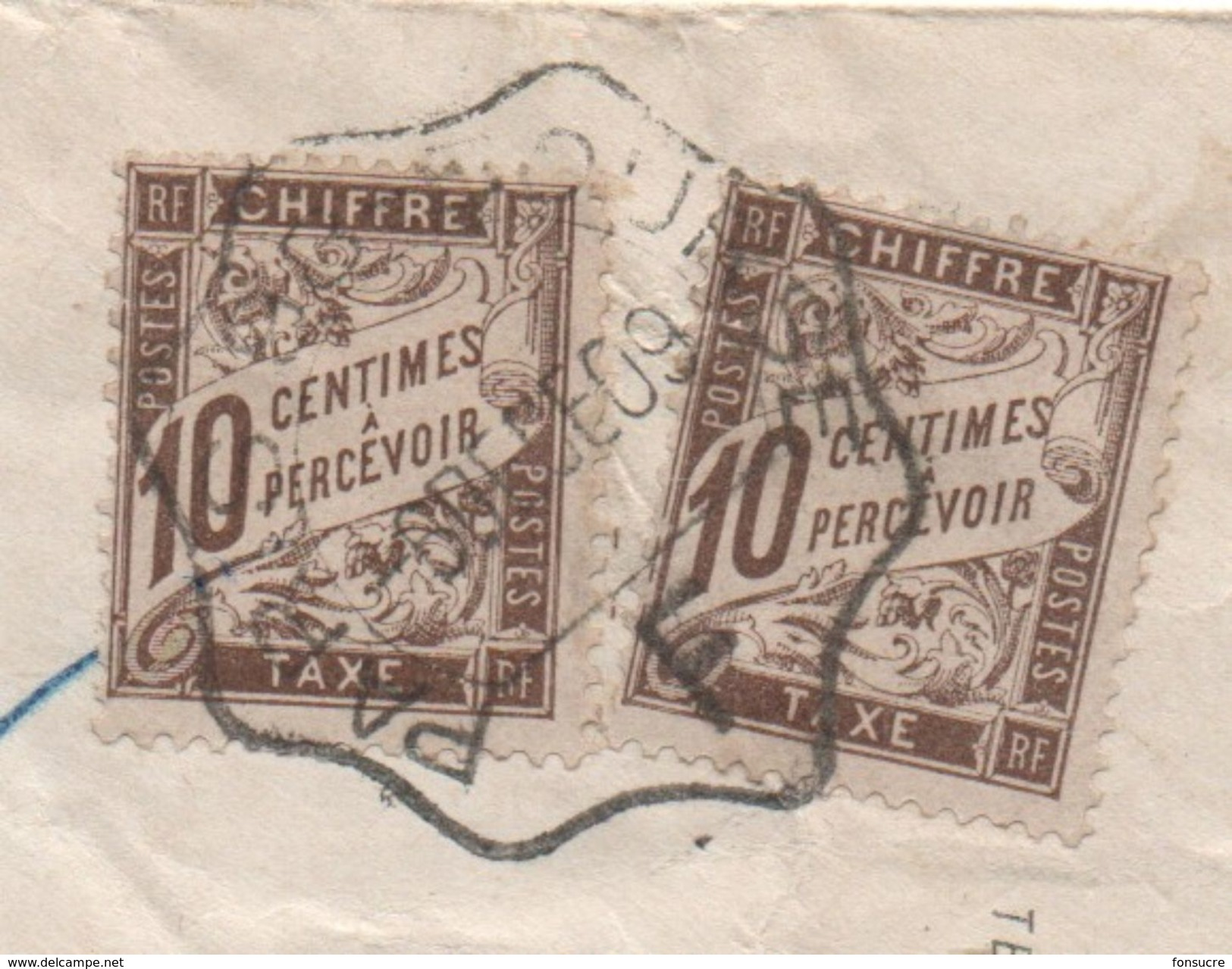 Cachet Ondulé (???) PARIS 98 BOURSE Avec Grand F Sur Lettre Taxée  à Voir...... Départ 1€ - Poststempel (Briefe)