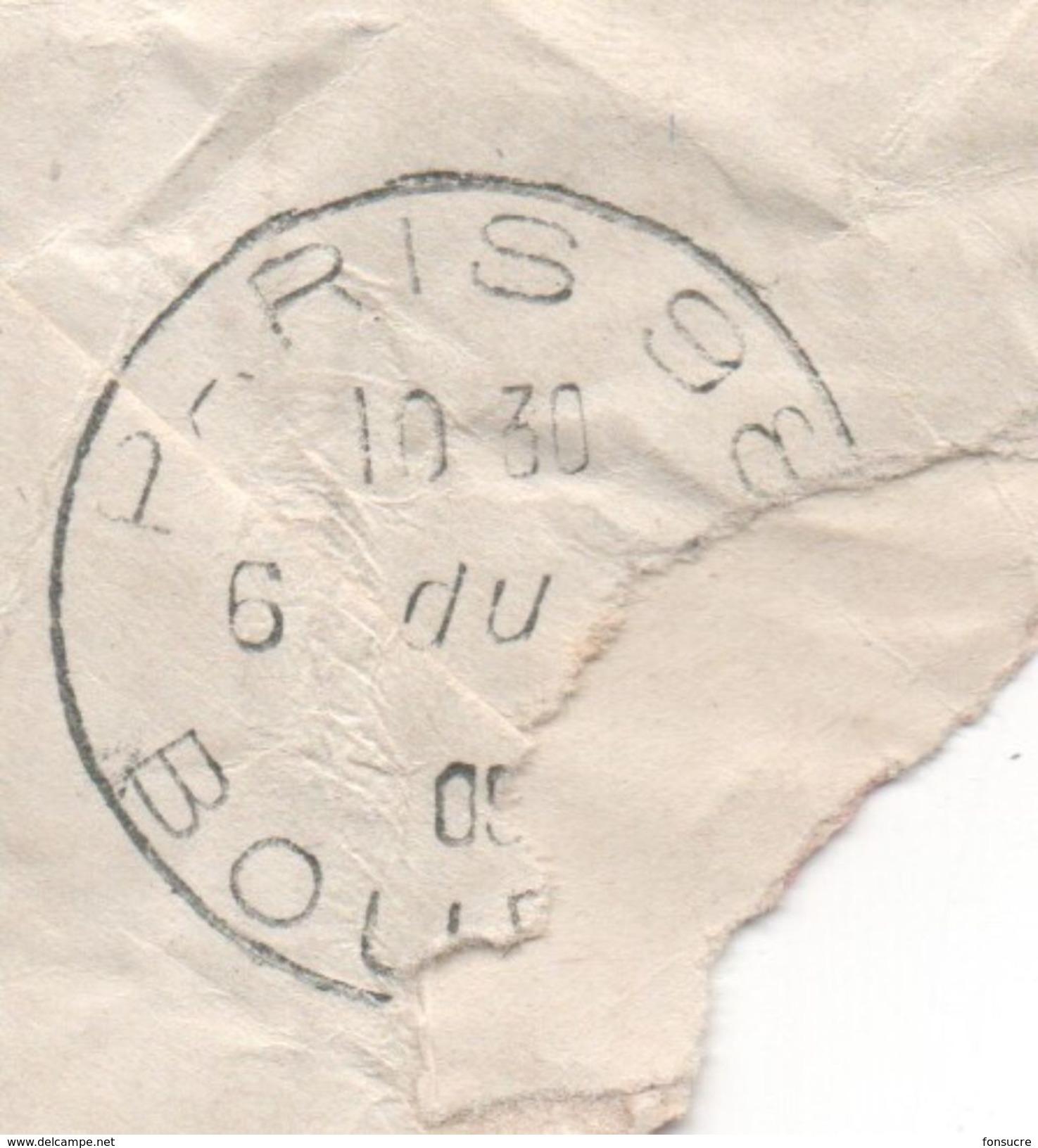 Cachet Ondulé (???) PARIS 98 BOURSE Avec Grand F Sur Lettre Taxée  à Voir...... Départ 1€ - Portomarken