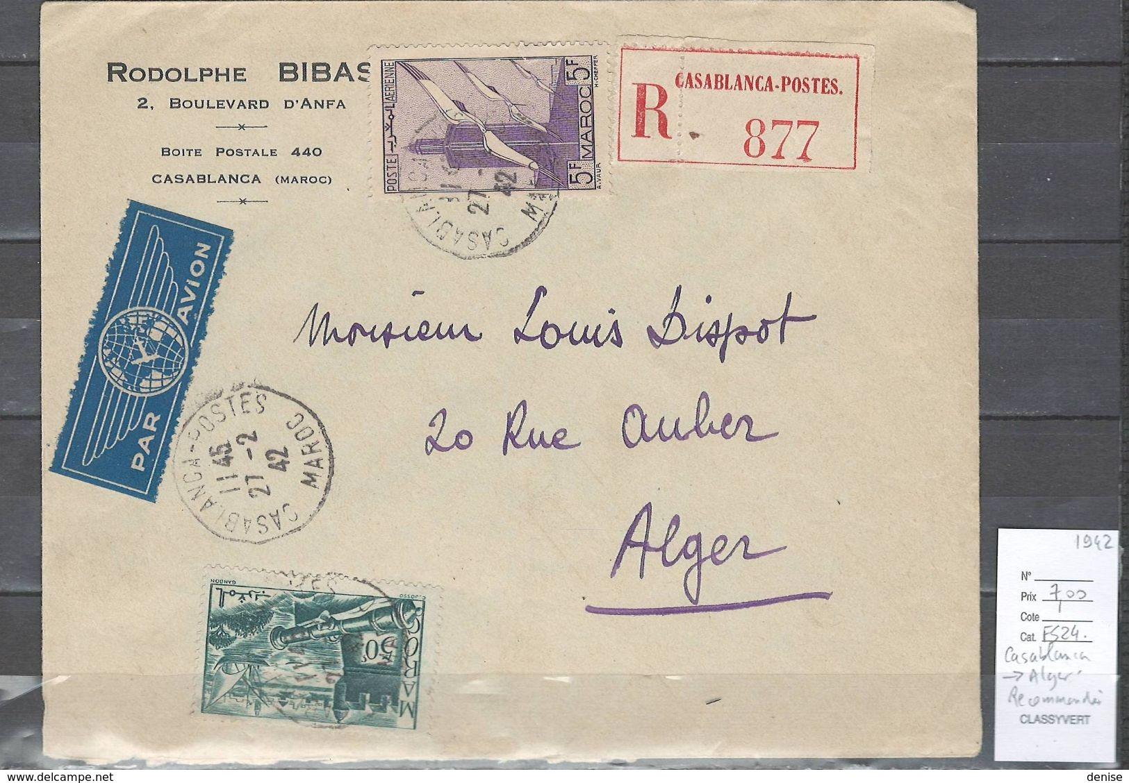 Maroc - Poste Aérienne  - Casablanca Pour Alger - 02/42 - Marokko (1891-1956)