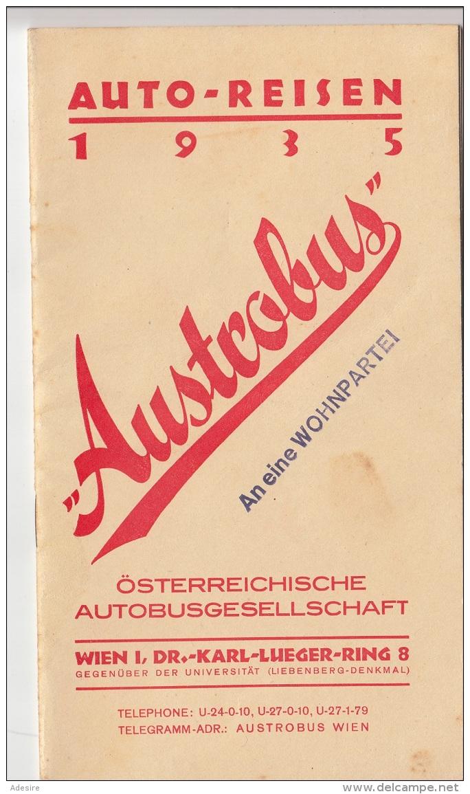 AUTOREISEN 1935 - Österreichische Autobusgesellschaft, Preiskatatlog 24 Seiten, Format 20,5 X 11,5 Cm - Europa