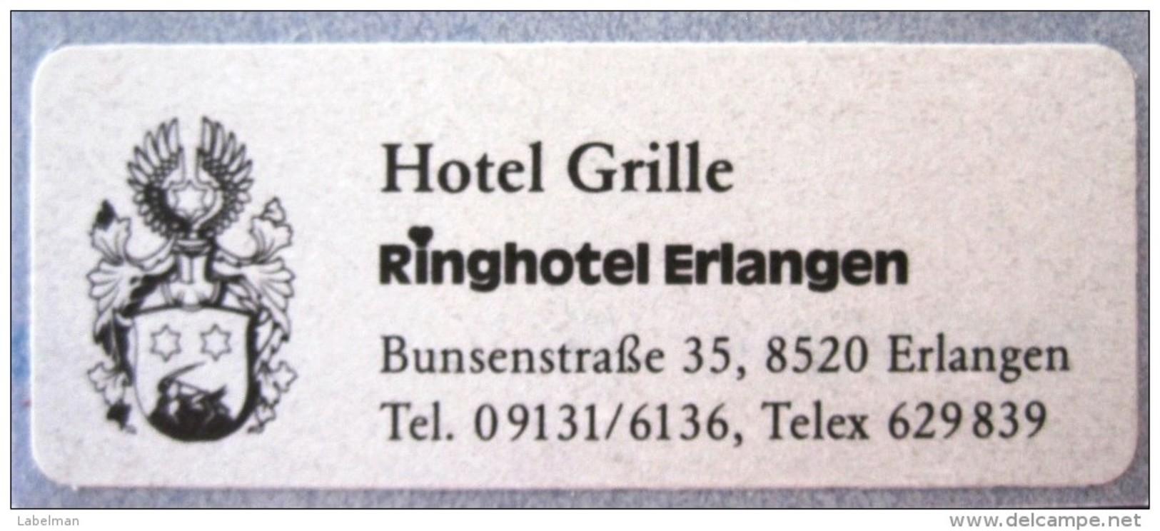 HOTEL GRILLE NO NAME RING ERLANGEN GERMANY DEUTSCHLAND ALLEMAGNE MINI STICKER LUGGAGE LABEL ETIQUETTE AUFKLEBER BERLIN - Hotel Labels