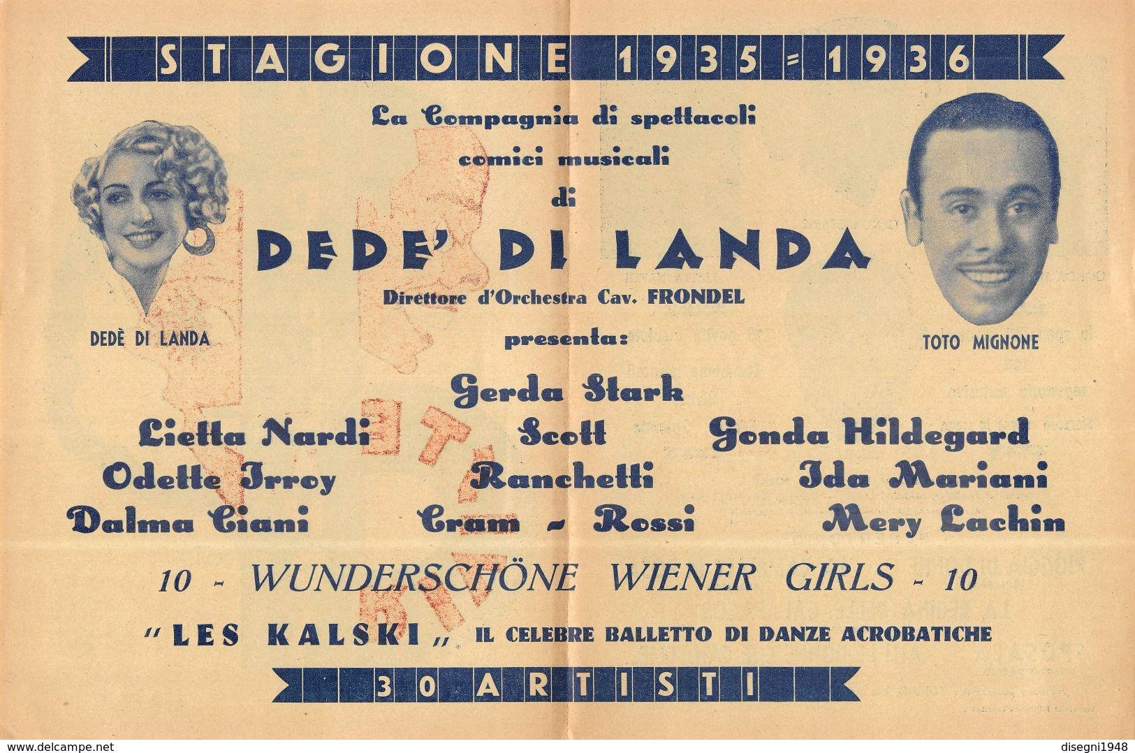 """07231 """"RIVISTE DEDE' DI LANDA - STAGIONE 1935 - 1936 - COMPAGNIA DI SPETTACOLI COMICI""""  LOCANDINA ORIG. - Manifesti & Poster"""