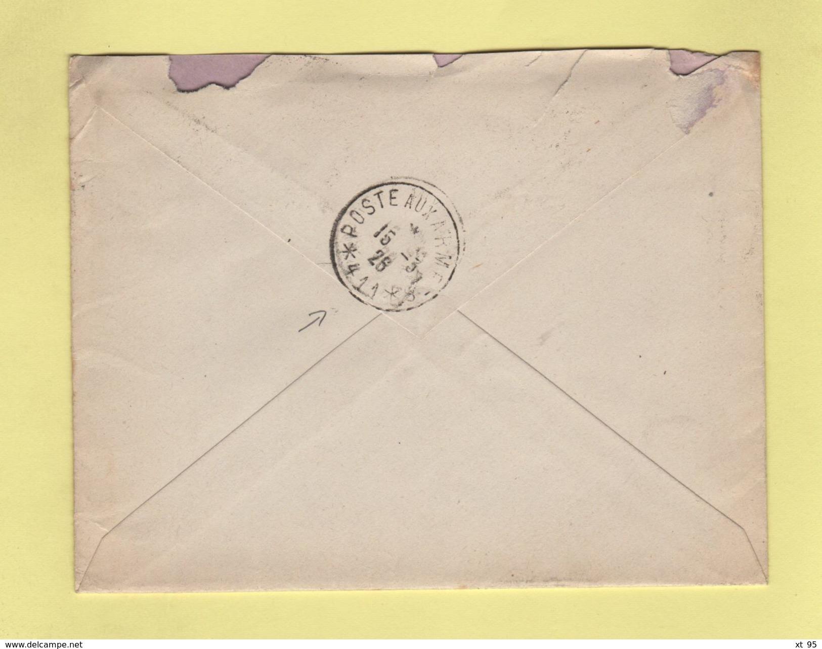 FM + 50c Pasteur Seul Sur Lettre Par Avion Pour Le Secteur 411 - 11-3-1926 Arrivee Le 15-3-1926 - Postmark Collection (Covers)