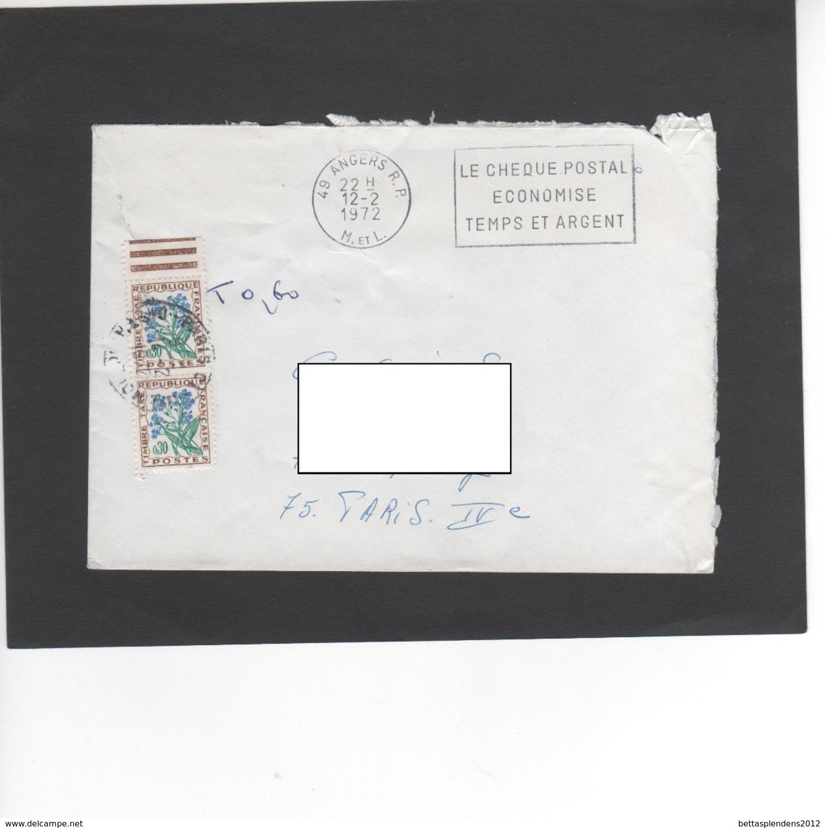 """LSC 1972 - Lettre Taxée à 0.60 + Flamme """"le Chèque Postal économise Temps Et Argent"""" - Taxes"""