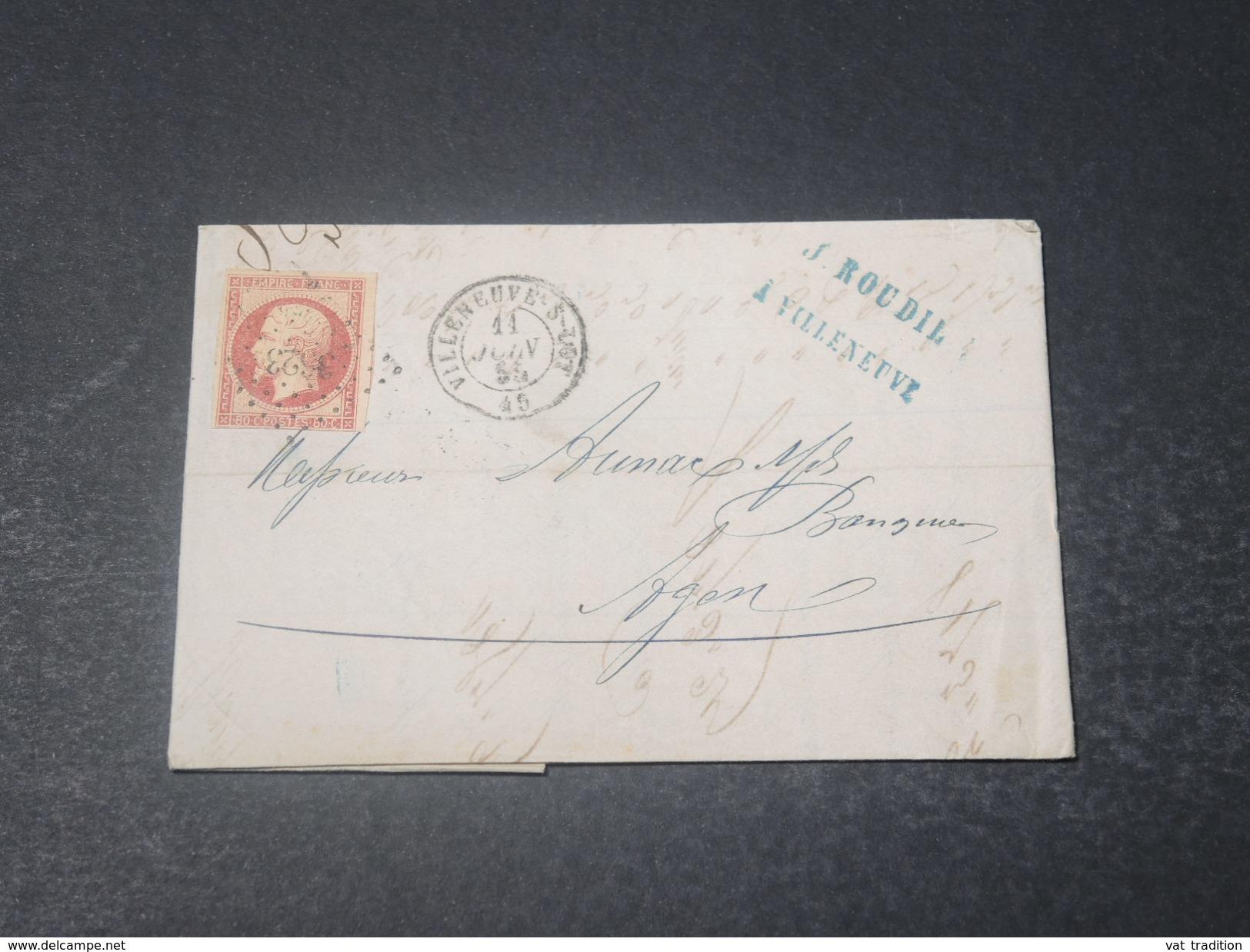 FRANCE - Lettre De Villeneuve Sur Lot Pour Agen En 1855 , Affranchissement Napoléon 80c - L 10992 - Marcophilie (Lettres)