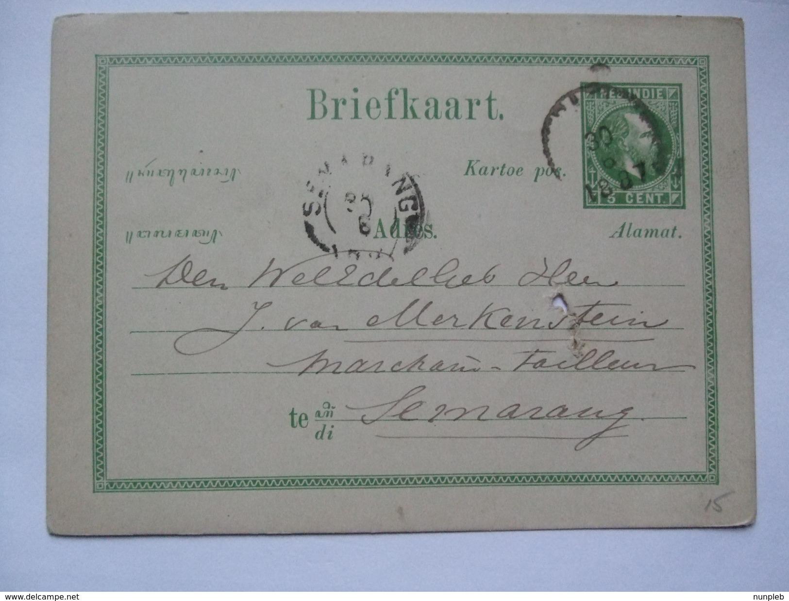 NETHERLANDS INDIES 1887 Postal Stationary Card - Semarang Postmark - Niederländisch-Indien