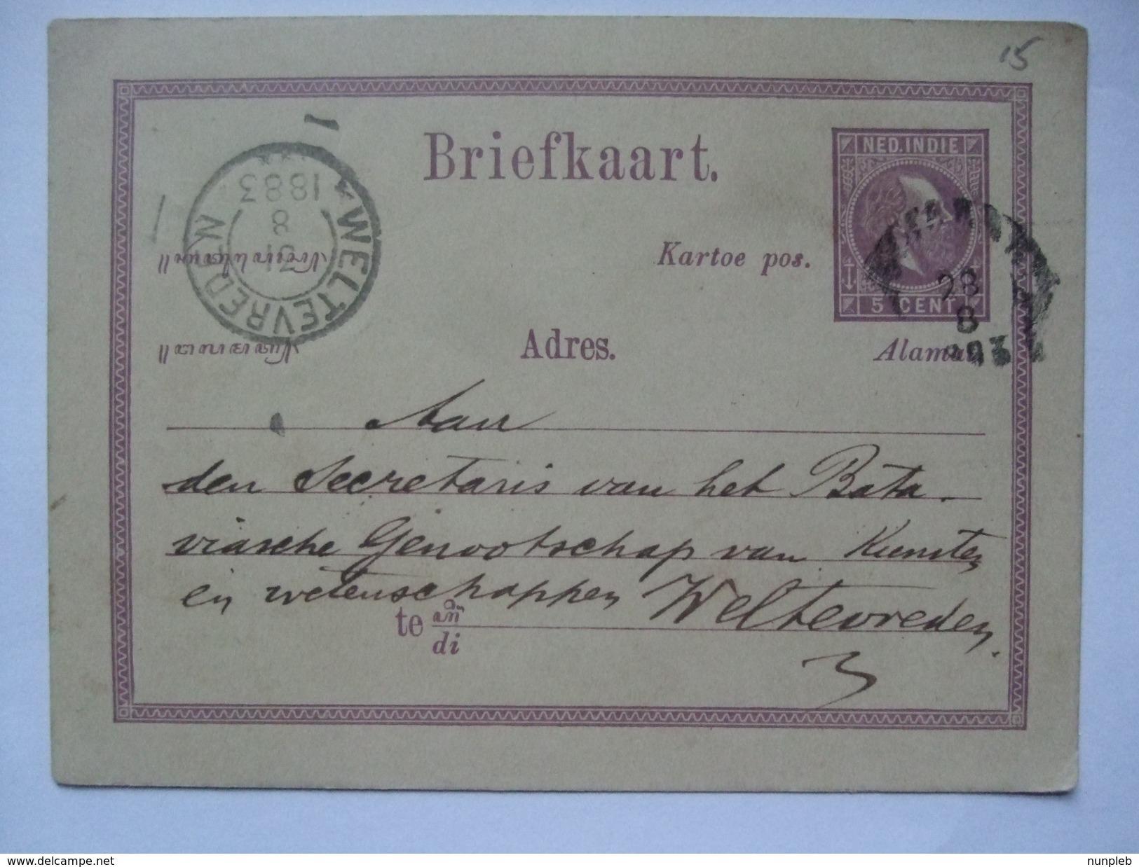 NETHERLANDS INDIES 1883 Postal Stationary Card - Weltevereden Postmark - `Ini Papan Boeat Toelis Soerat` - Niederländisch-Indien
