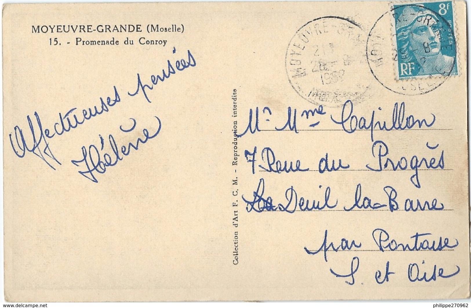 15  MOYEUVRE GRANDE  (57) PROMENADE DU CONROY - CPSM  Ayant Circulé En 1952 - France