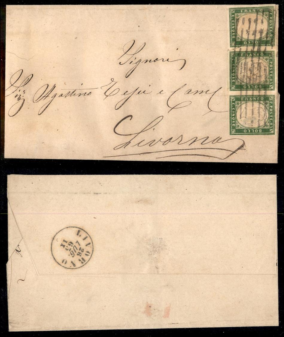 10344 REGNO - Sbarre Di Livorno In Arrivo Su Striscia Di Tre Del 5 Cent Verde (13E Sardegna) - Lettera Da Follonica Del  - Stamps