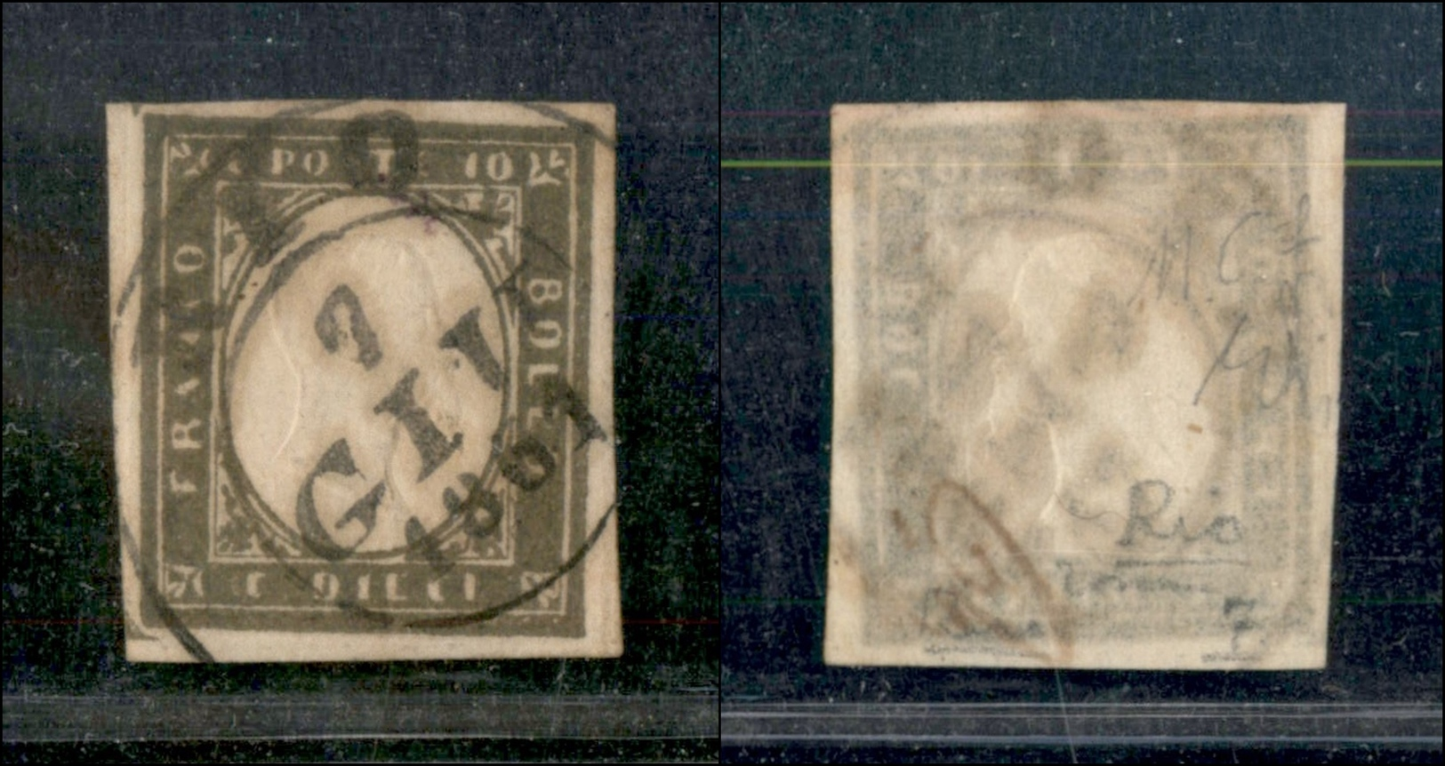 10345 REGNO - 1861 - 10 Cent Oliva Grigio Scuro (14Cb) Con Ottimi Margini - Rio (punti 7) - Molto Bello (2.500+) - Stamps