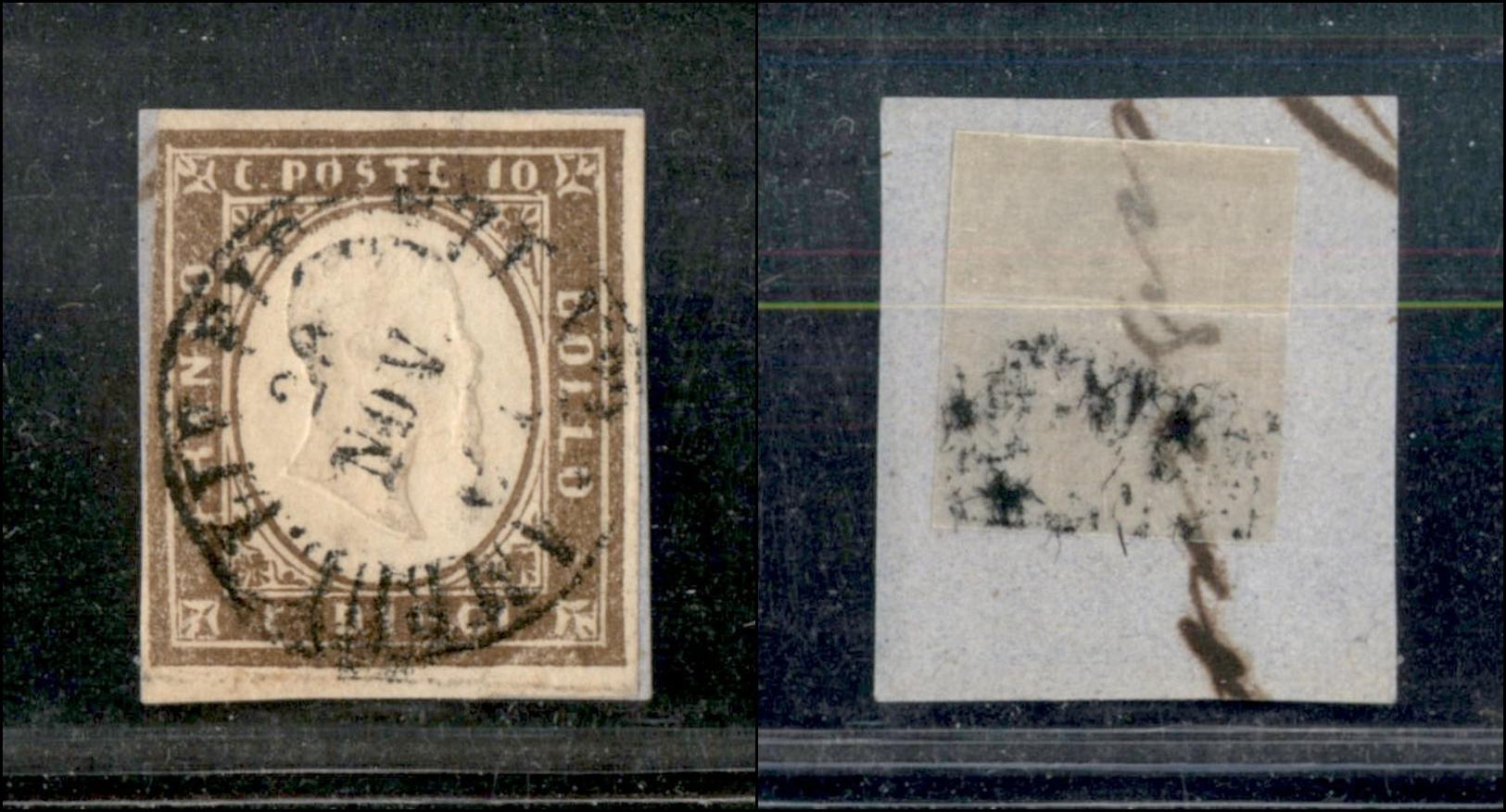 10347 REGNO - 1861 - 10 Cent Bruno Cioccolato (14CK) Appena Corto A Sinistra Su Piccolo Frammento Amb. Liv. Firenze N.2  - Stamps