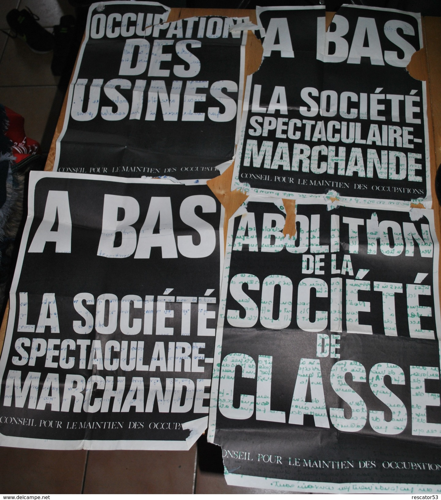 Très Rare Lot  Pour Le Cinquantenaire De MAI 68 De 4 Affiches Et 8 Photos Originales  Avec Discours Au Dos Des Affiches - Posters