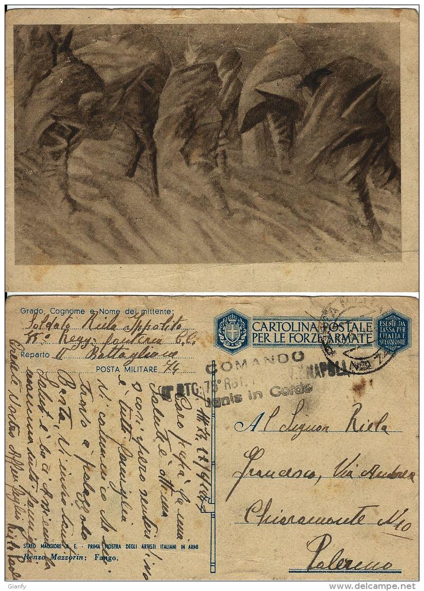 FRANCHIGIA WWII POSTA MILITARE 74 1943 VIZZINI X PALERMO - Military Mail (PM)