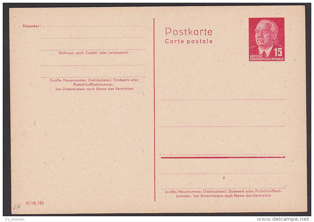 DDR Ganzsache 15 Pf. P64II Ungebraucht, Wilhelm Pieck - [6] República Democrática