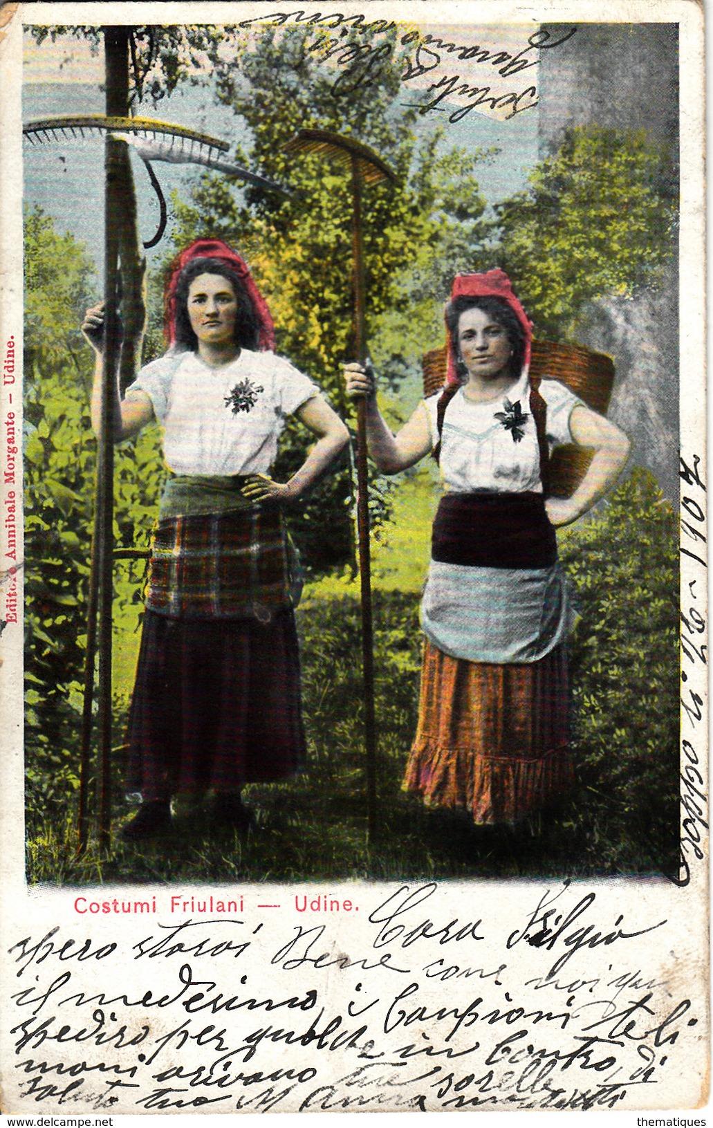 Thématiques Italie Italy Costumi Friulani Udine Cachet 1907 Timbre - Udine