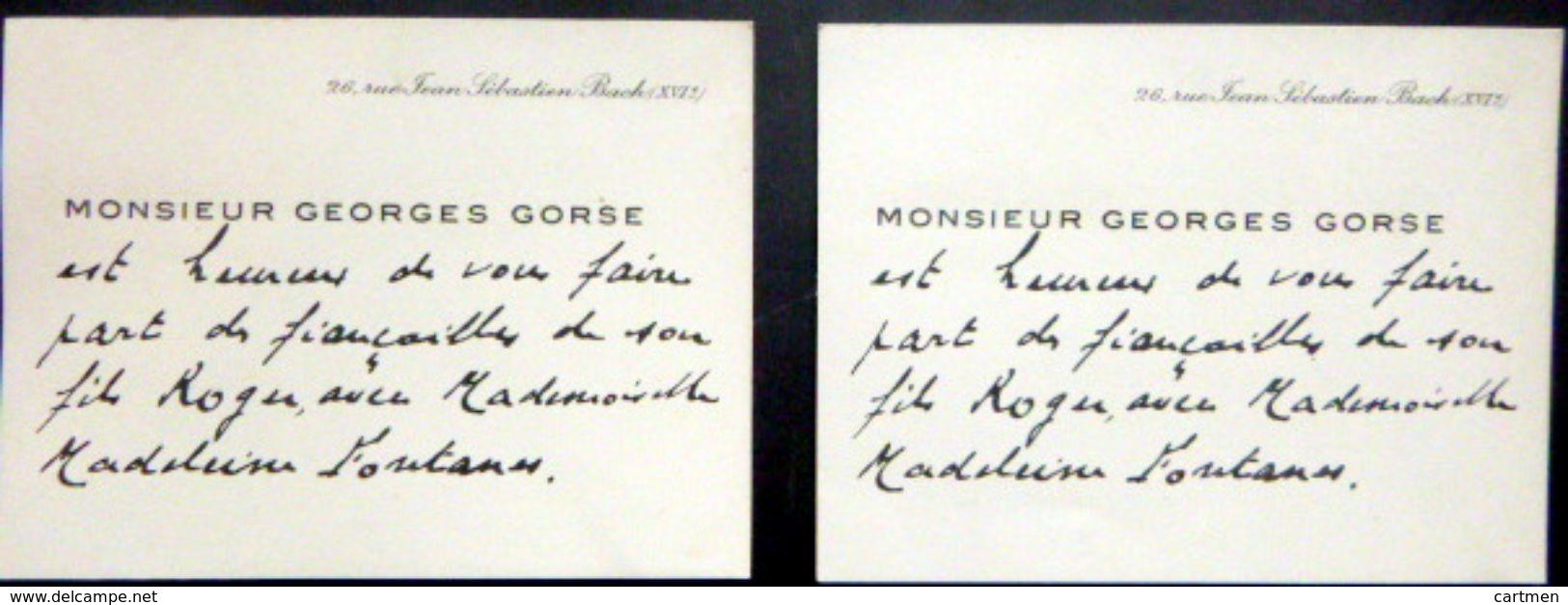 POLITIQUE GORSE CARTE DE VISITE  2 CARTES DE VISITE DE MONSIEUR GEORGES GORSE ANCIEN MINISTRE - Autographes