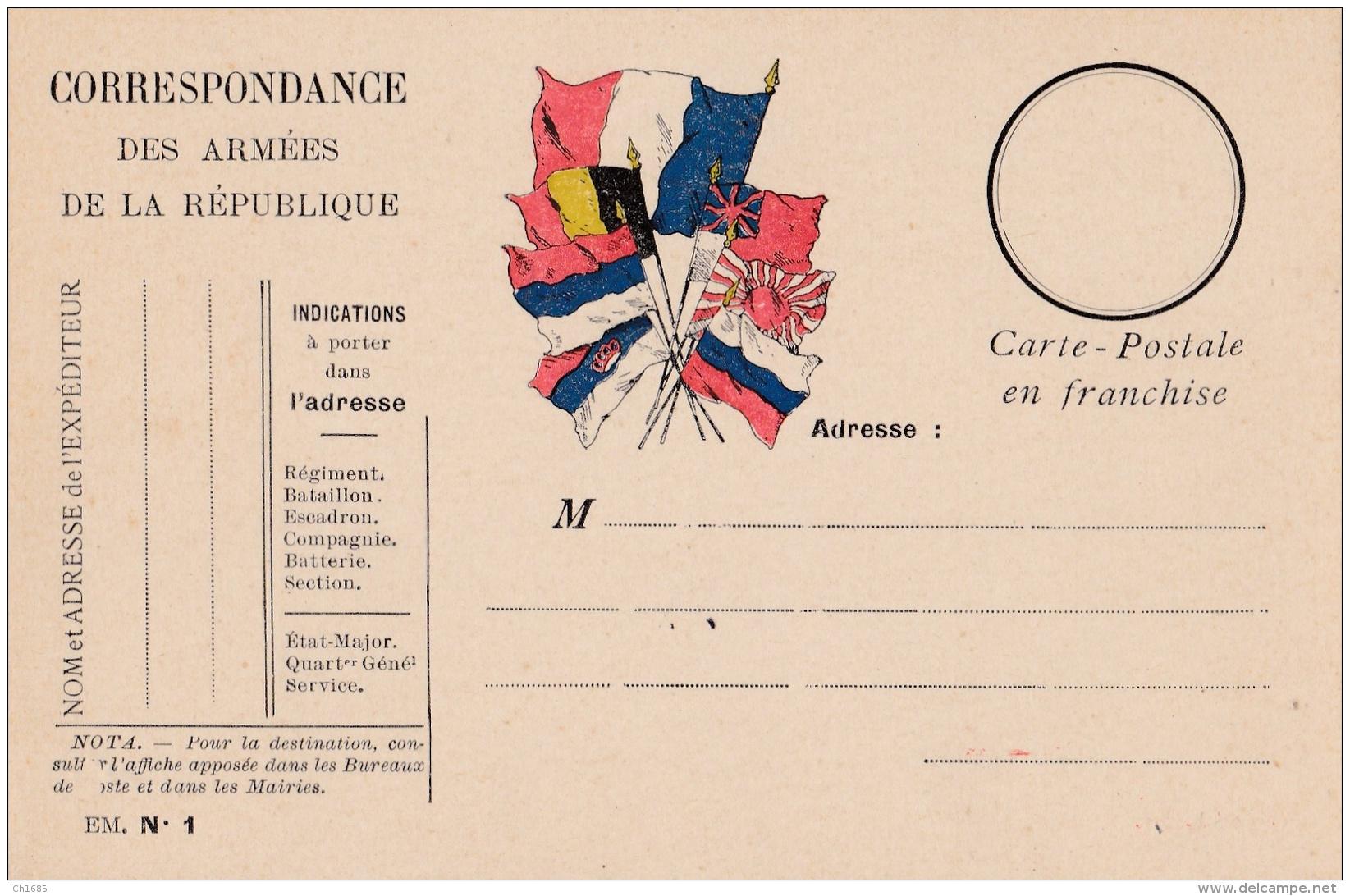 Carte Correspondance Militaire Neuve 7 Drapeaux - WW I