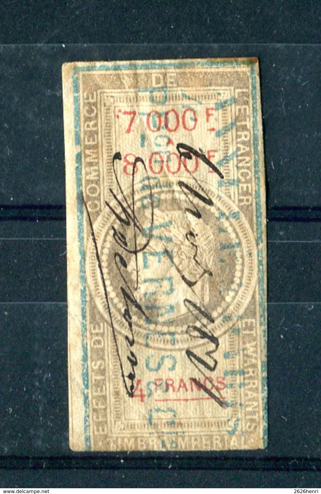 Timbre Fiscal  Napoleon, 4 Francs Effet De Commerce 1864, #38 - Fiscaux