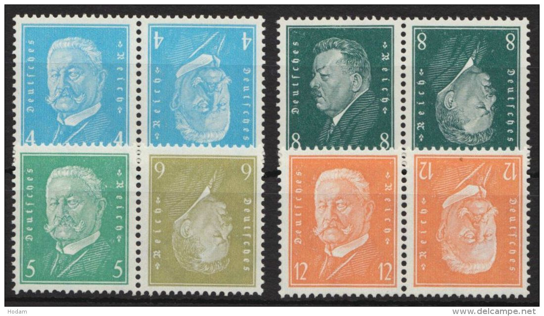 """Mi-Nr. K9, 11/13, """"Hindenburg/Ebert"""", 4 Kehrdrucke, Gut Gezähnt, ** - Zusammendrucke"""