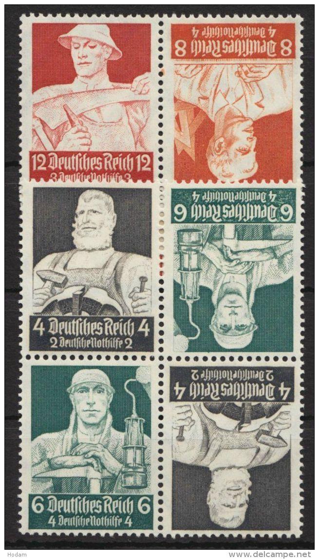 """Mi-Nr. K23/4, """"Berufsstände"""", 1934, Kehrdrucke, K23 Im 4er Block, ** - Zusammendrucke"""