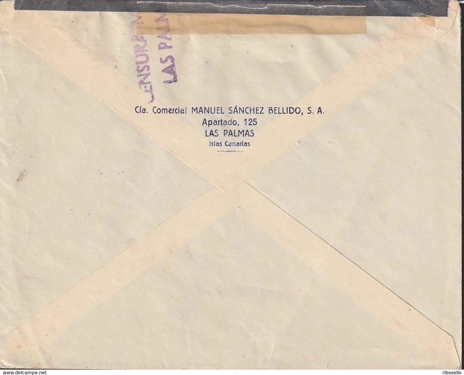 España 1938. Canarias. Carta De Las Palmas A Bloemendaal. Censura. - Marcas De Censura Nacional