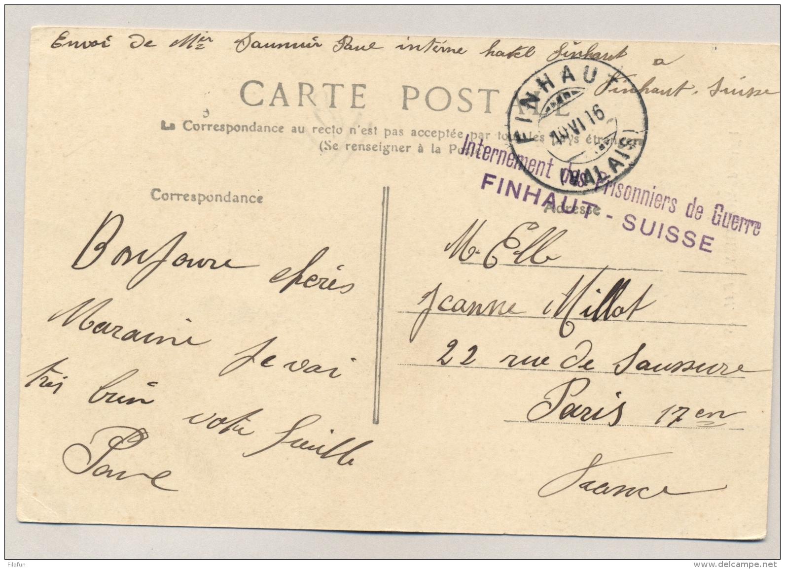 Schweiz - 1916 - POW-Postcard Internement Des Prisonniers De Guerre FINHAUT - SUISSE To Paris / France - Documenten