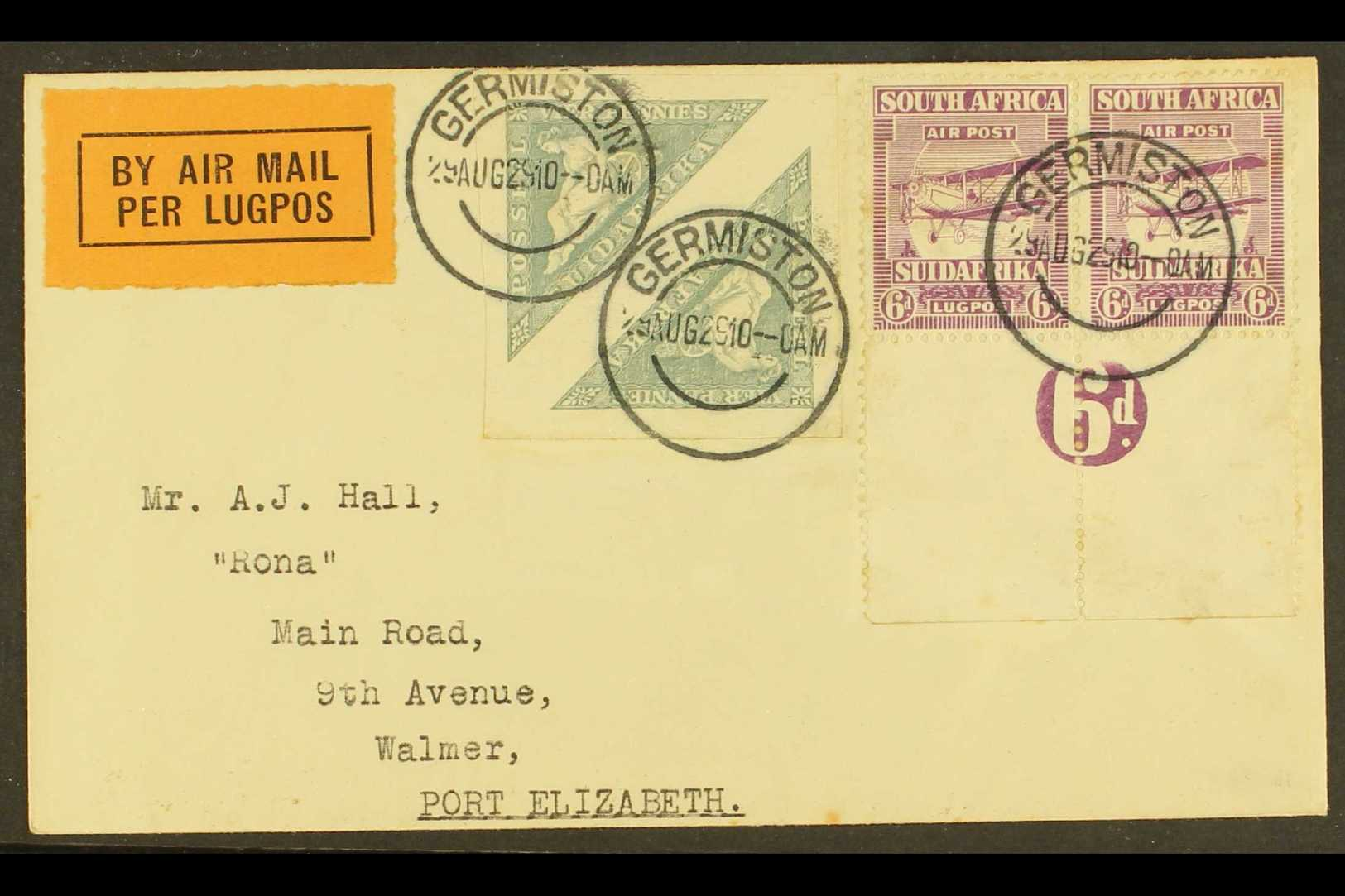 1929 (29 Aug) Airmailed Cover To Port Elizabeth, Franked With 1926 4d Triangle Pair & 1925 6d Airmail Numeral Margin Pai - South Africa (...-1961)