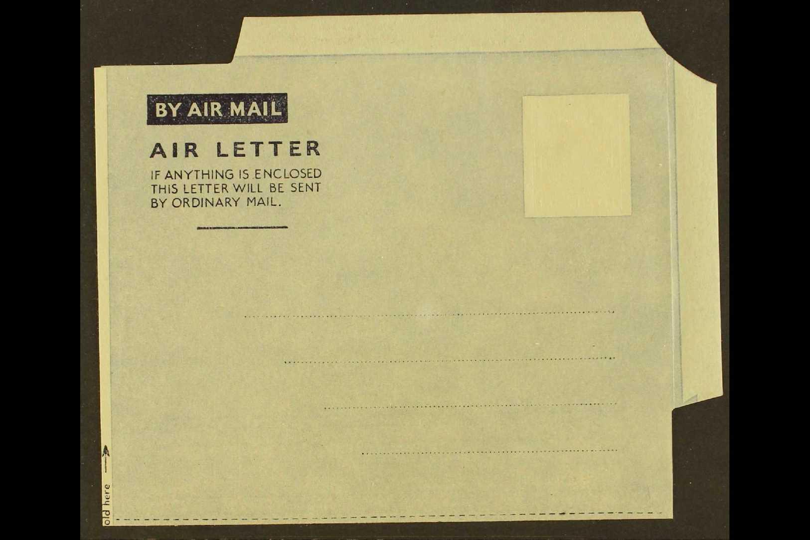 AIR LETTER SHEET ERROR 1943 6d Aerogramme (Tablet Type A-1) With ALBINO IMPRESSION OF STAMP DESIGN (Kessler 1d, Higgins  - Unclassified