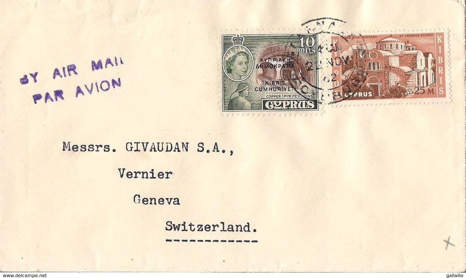 MARCOPHILIE LETTRE CHYPRE CYPRUS DE 1962  TP NO 174 ET 198 YT - Chypre (Turquie)