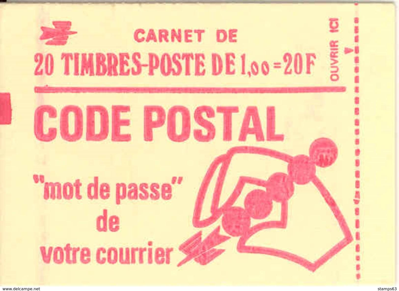 FRANCE - BOOKLET / CARNET, Yvert 1892-c3, 1976, 20 X 1.00 Marianne De Béquet - Usage Courant