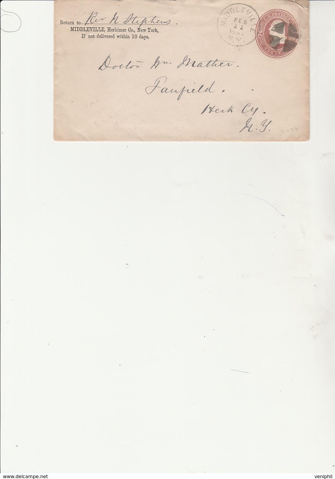 ETATS UNIS - ENTIER POSTAL OBLITERE CAD MIDDLEVILLE -1887  TB - Andere