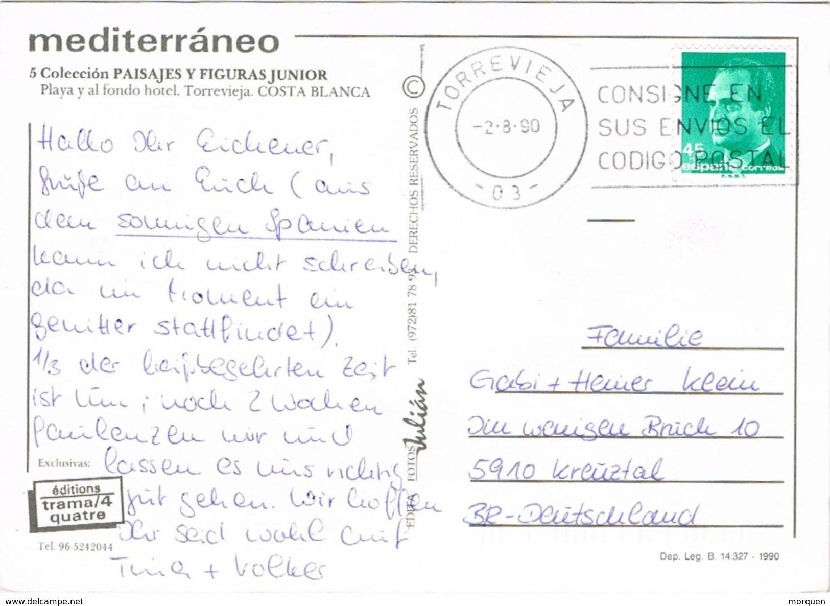 26886. Postal  TORREVIEJA (Alicante) 1990. Costa Blanca - 1931-Hoy: 2ª República - ... Juan Carlos I