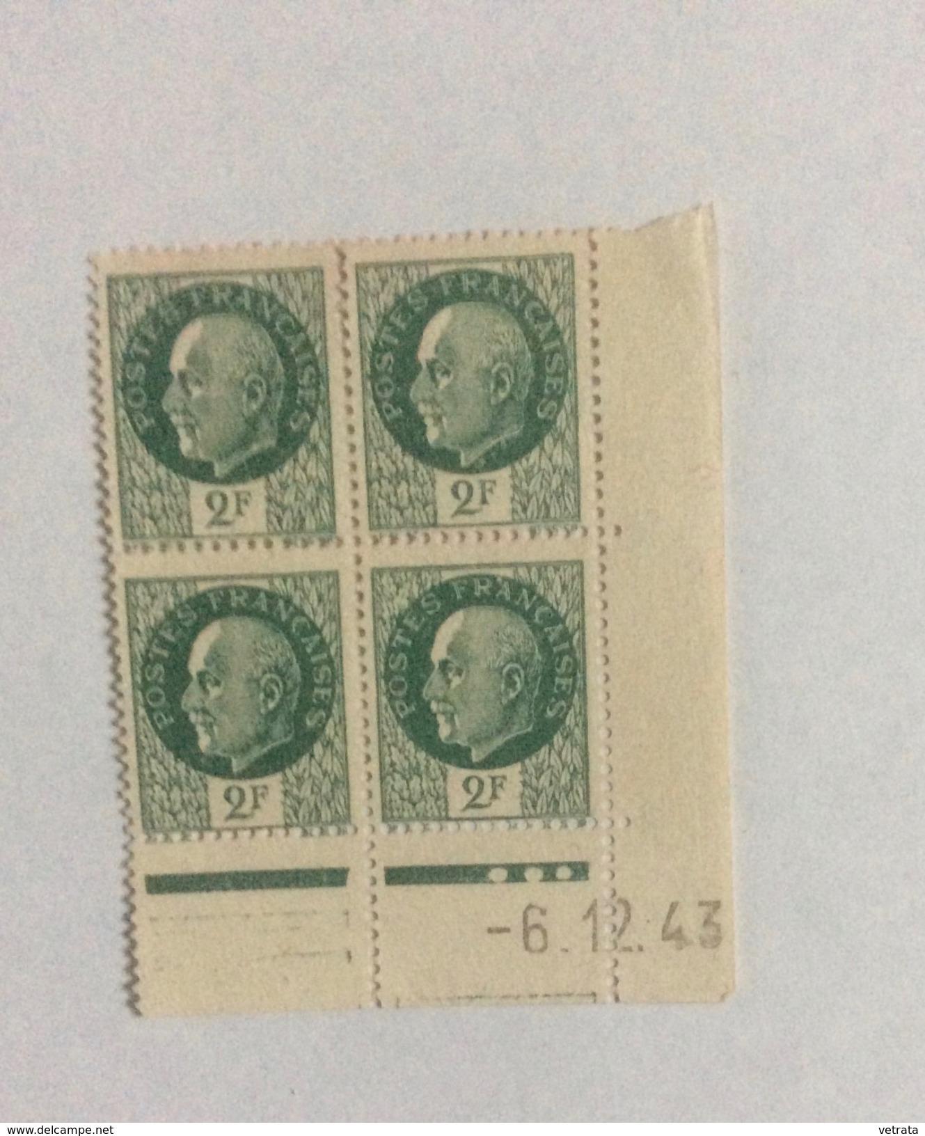2 Coins Datés :  2x4 Timbres, Pétain, 1943 - Blocs & Feuillets