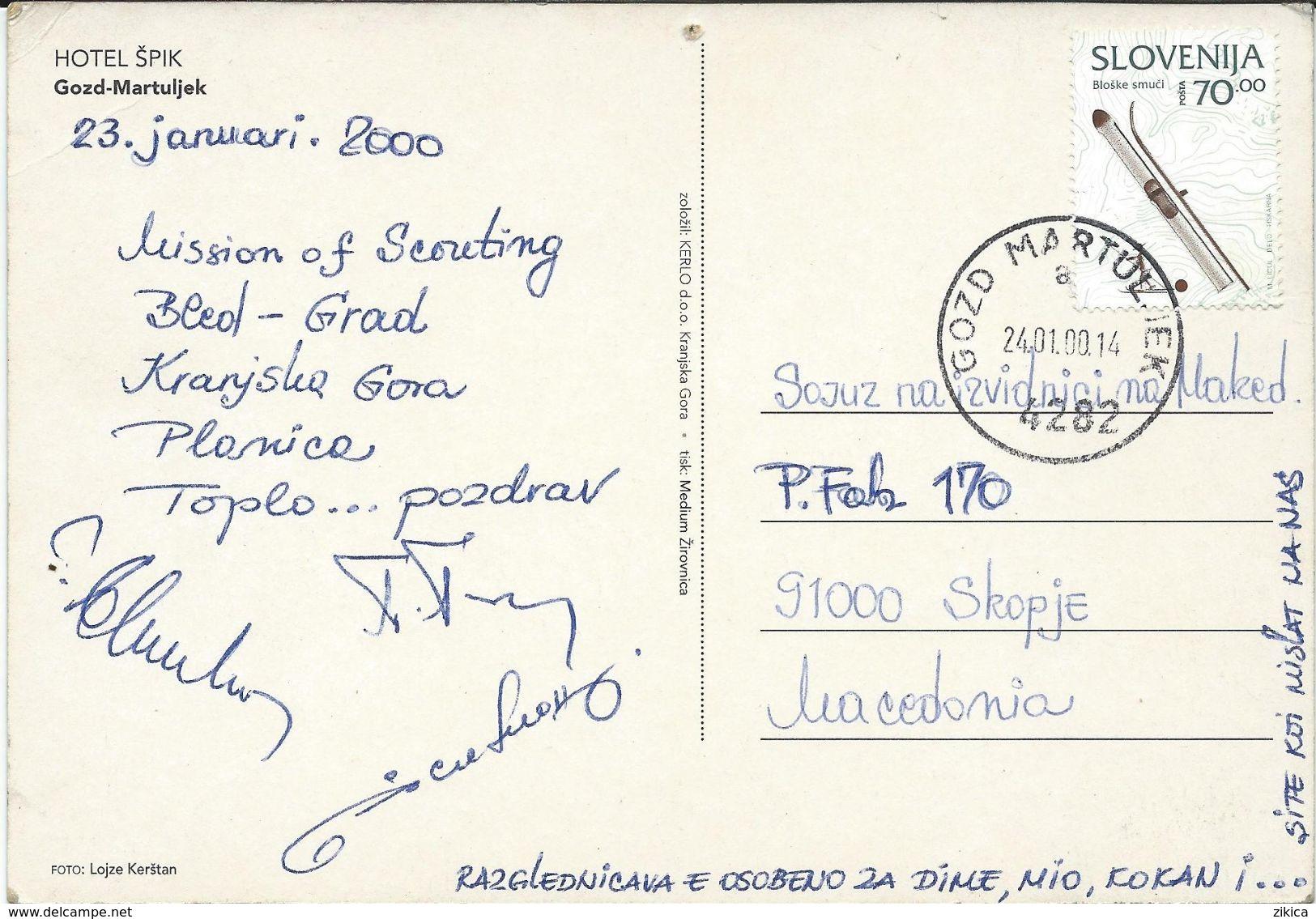 Mission Of Scouting Bled-Grad,Kranjska Gora,Planica. Slovenia. Postcard Hotel Shpik - Gozd - Martuljek - Scoutisme