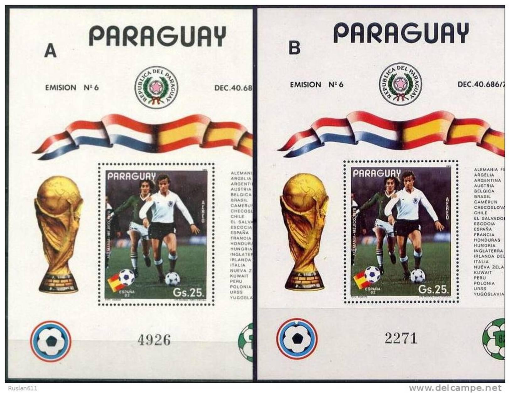 Soccer Football Paraguay Bl 372 A + B 1982 World Cup Spain MNH ** - Wereldkampioenschap