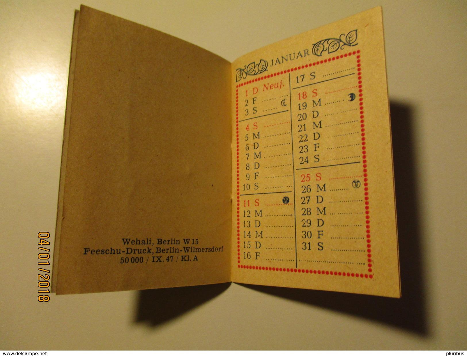 GERMANY  1948  SMALL POCKET CALENDAR , 0 - Calendriers