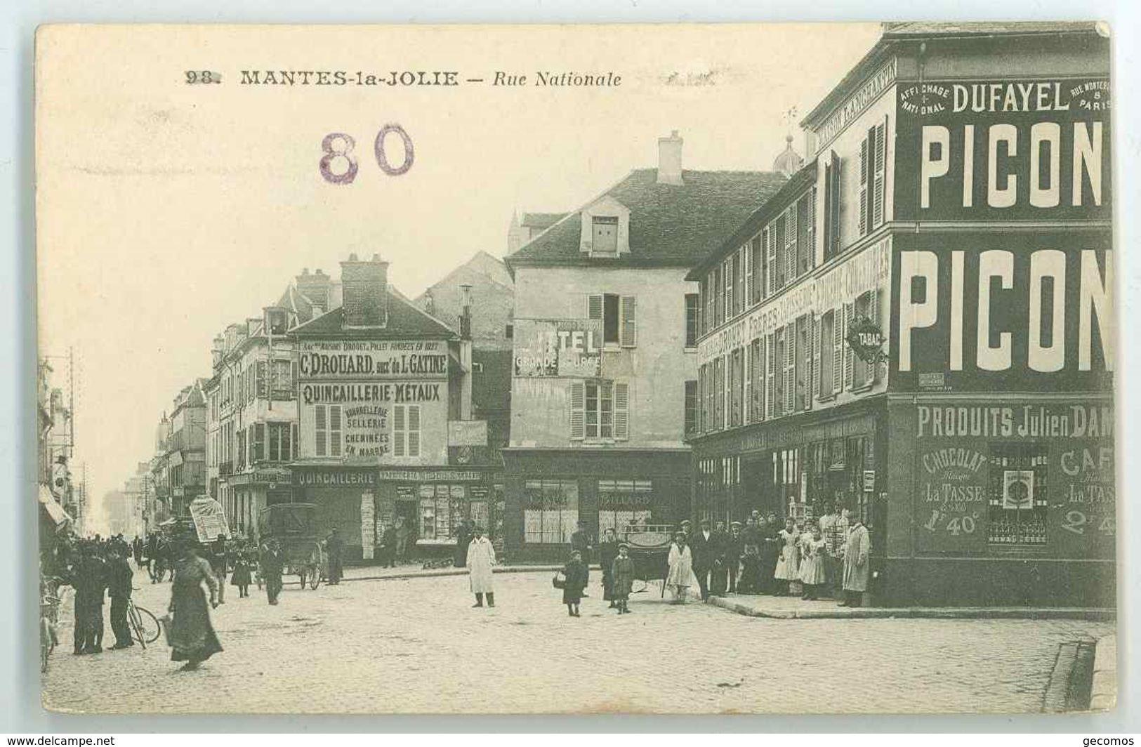 78 - MANTES LA JOLIE - Rue Nationale (Publicité DUFAYEL PICON Sur Façade...) - Mantes La Jolie