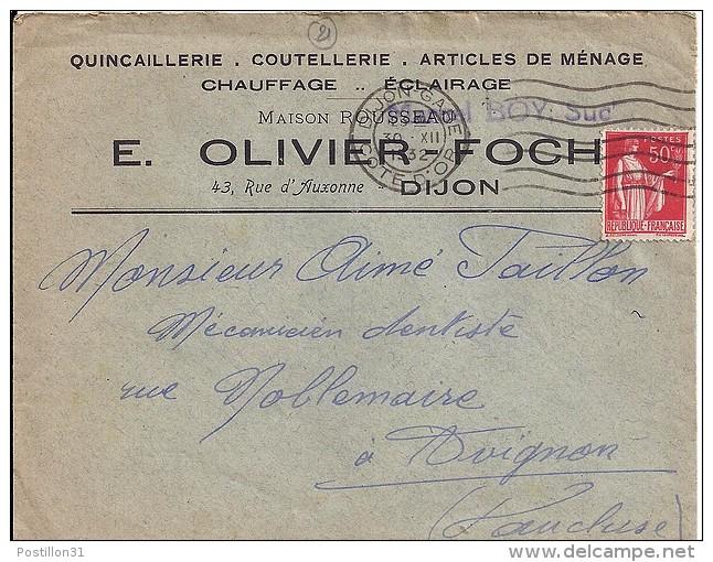 """COTE D'OR - 21 - DIJON    ENV. EN-TETE """"QUINCAILLERIE.COUTELLERIE..... E.OLIVIER FOCH"""" - Marcophilie (Lettres)"""