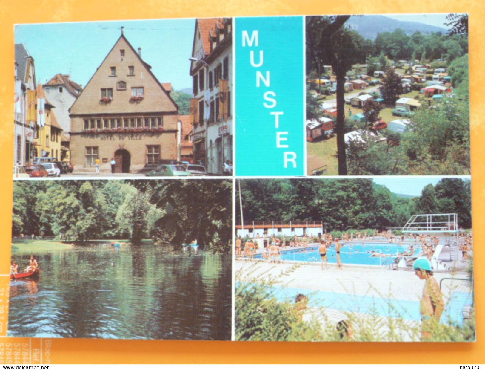 V04-C-67-68-haut Rhin-munster-hotel De Ville-camping- Plan D'eau-la Piscine -animee-multivues - Munster