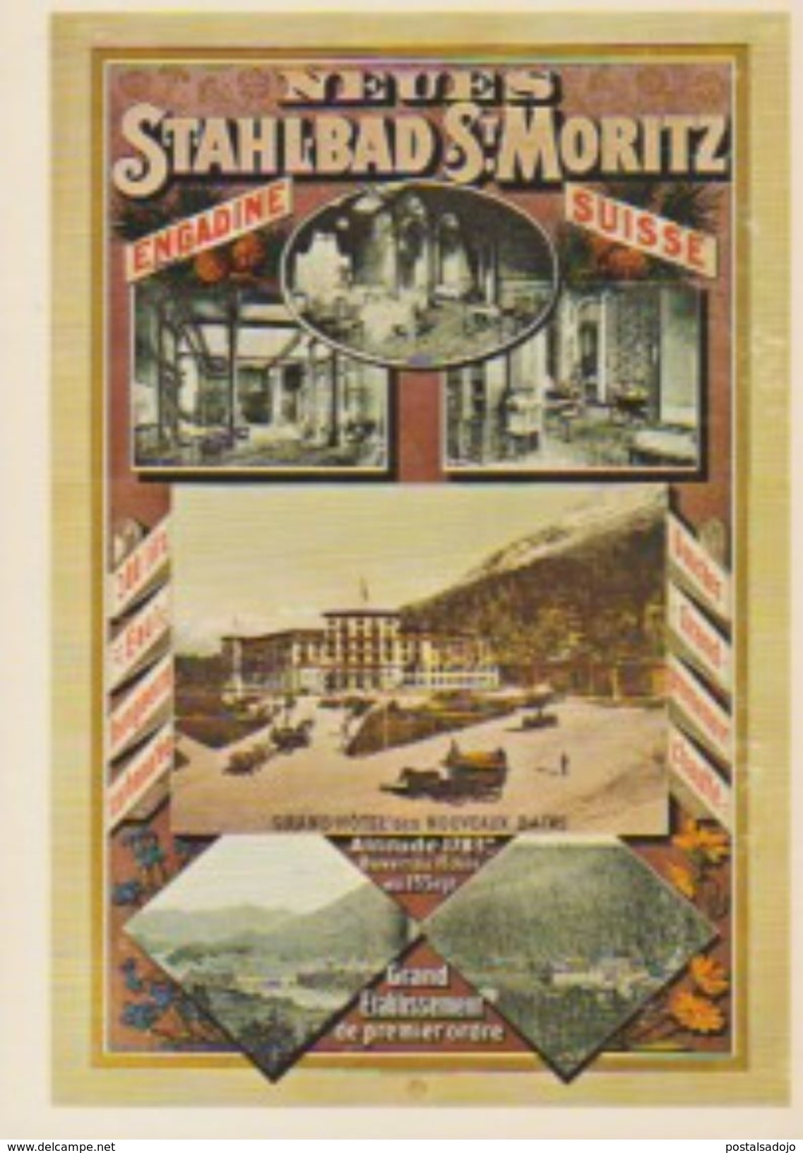 (CH1046) CPM. NEUES STAHIBAD ST MORITZ 1885 ... UNUSED - GR Grisons