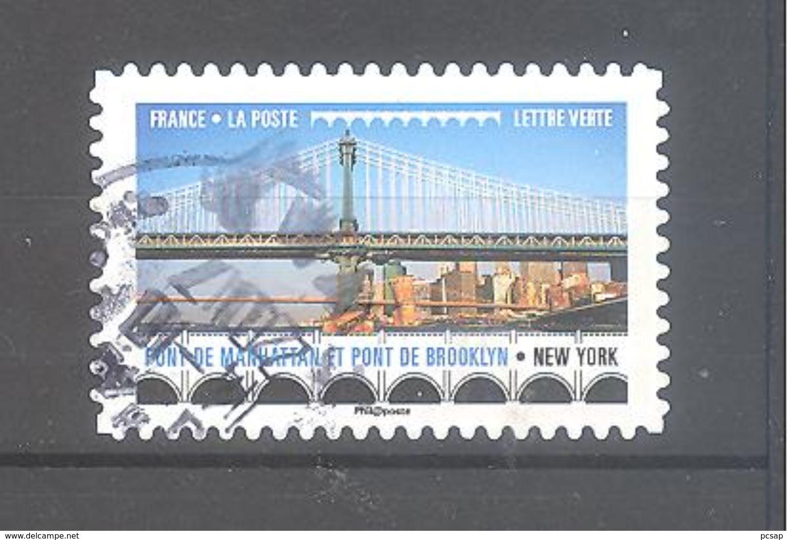 France Autoadhésif Oblitéré (Ponts Et Viaducs : Pont De Manhattan Et Pont De Brooklyn - New York) (cachet Rond) - France