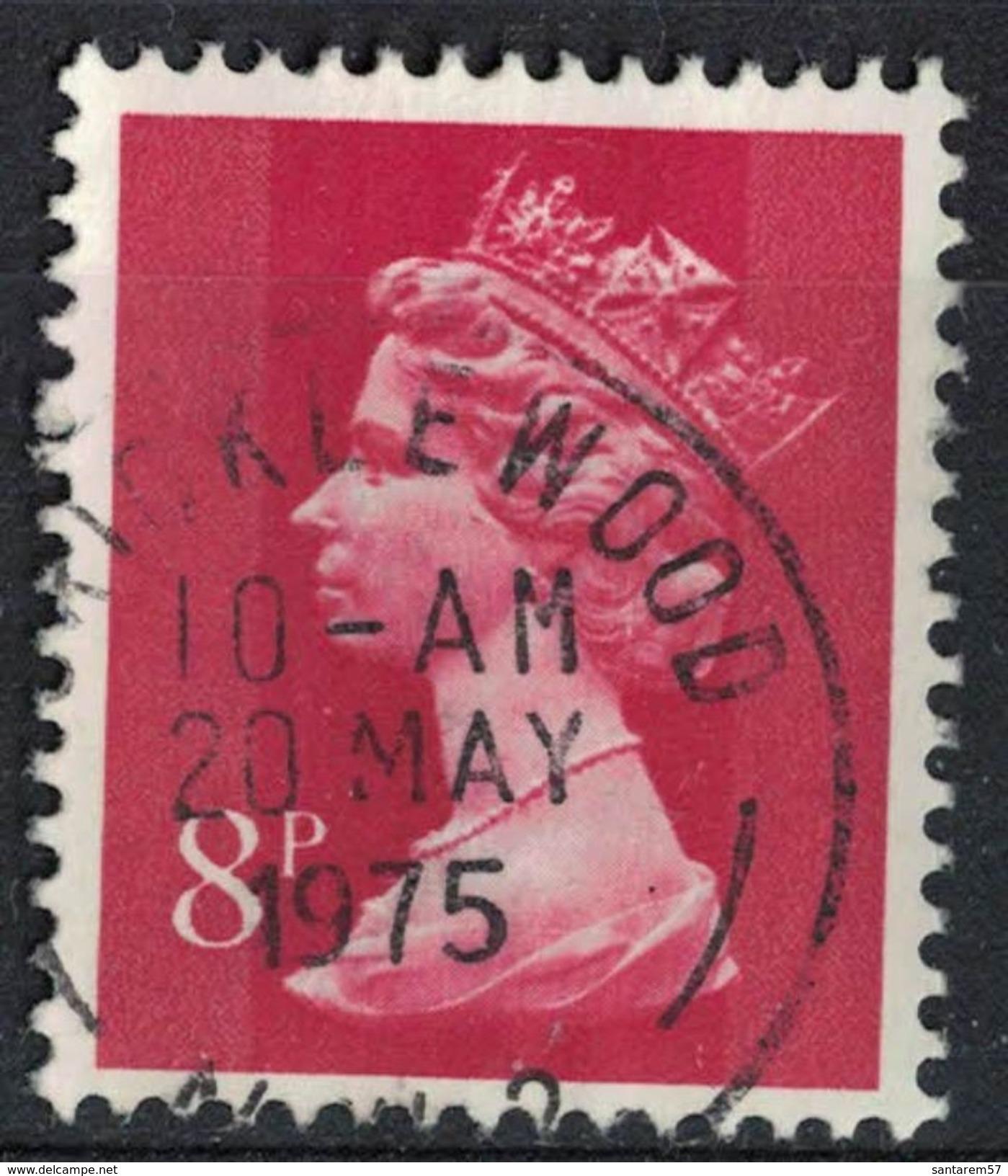 Royaume Uni 1973 Oblitéré Rond Daté Used Série Machin Elizabeth II 8 Penny Rouge SU - 1952-.... (Elisabeth II.)