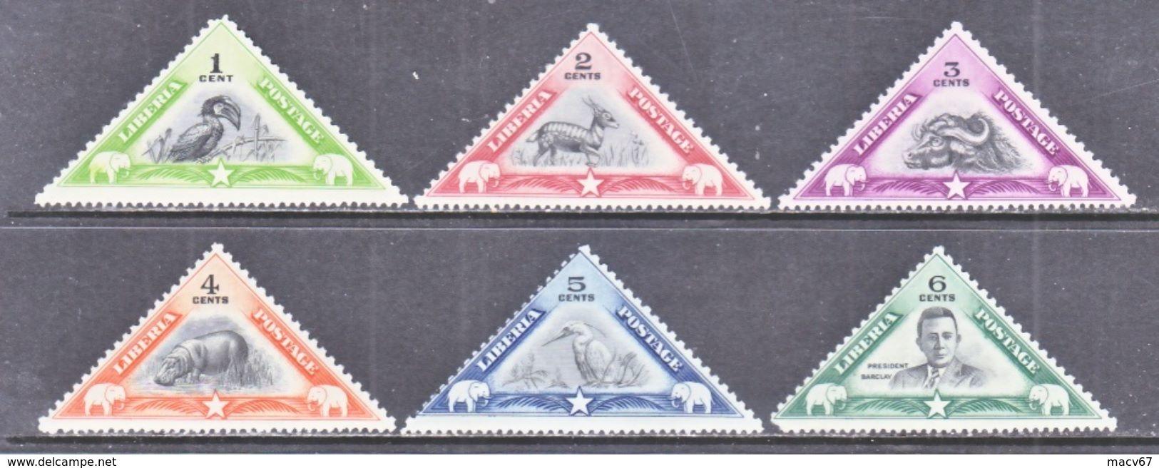 LIBERIA  271-6   *   FAUNA  ELEPHANTS, BIRDS,  TRIANGLES - Liberia