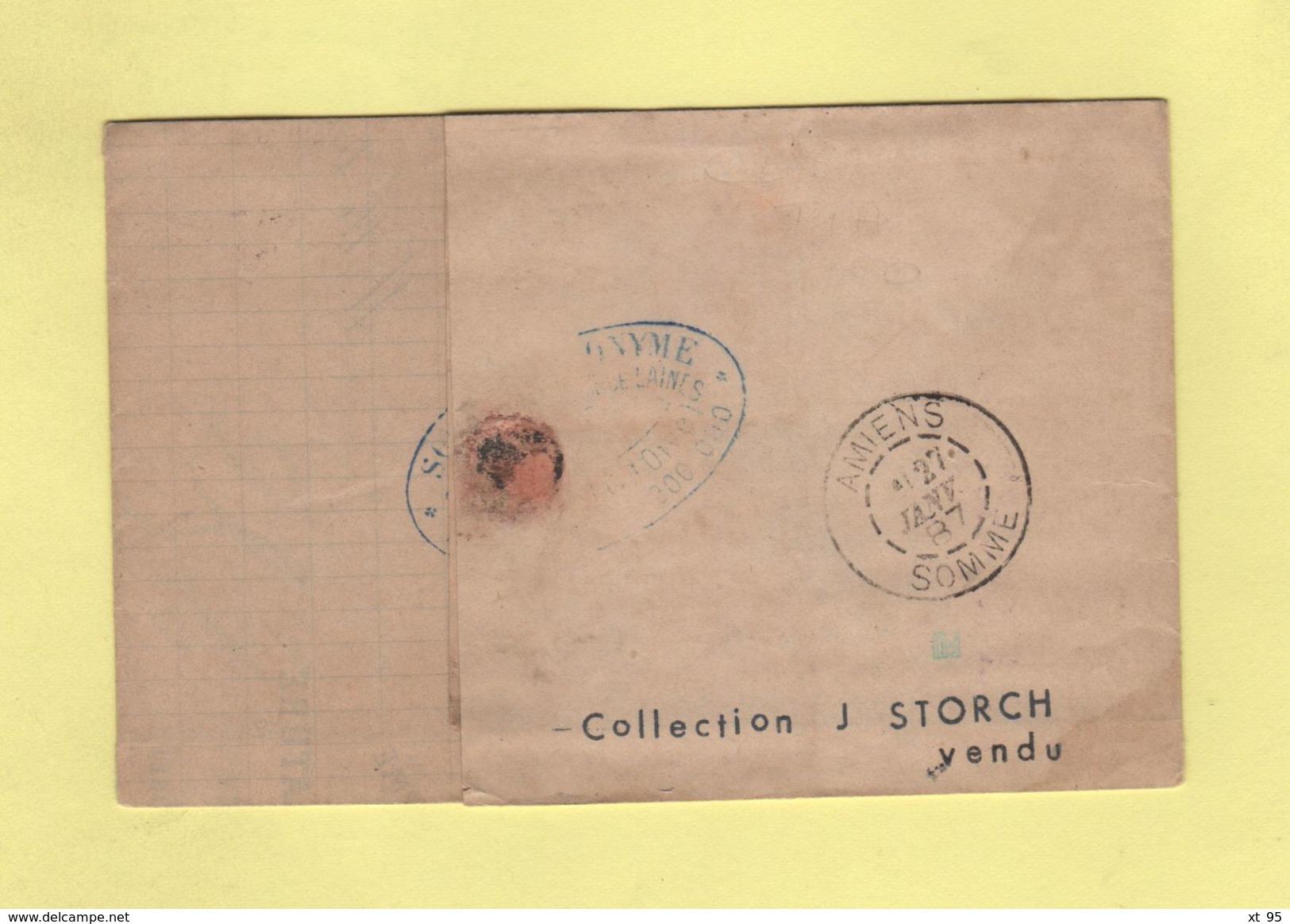 Convoyeur - Beauvais à Creil - 1887 - Courrier De Melo - Oise - Marcophilie (Lettres)