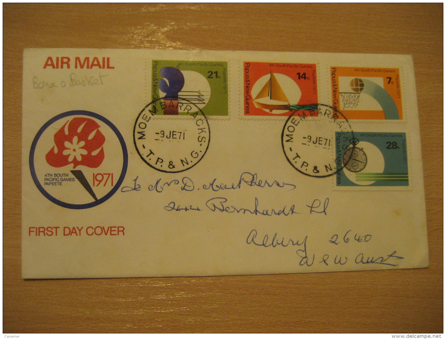 MOEM BARRACKS 1971 Papeete South Pacific Games Basketball Basket Baloncesto FDC Air Mail Cover PAPUA & NEW GUINEA - Basket-ball