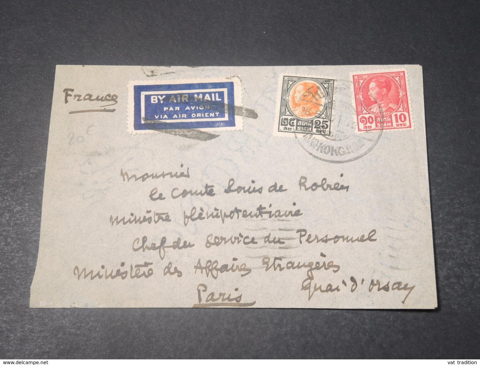 SIAM - Enveloppe De Bangkok Pour Paris En 1935 , Affranchissement Plaisant - L 11285 - Siam