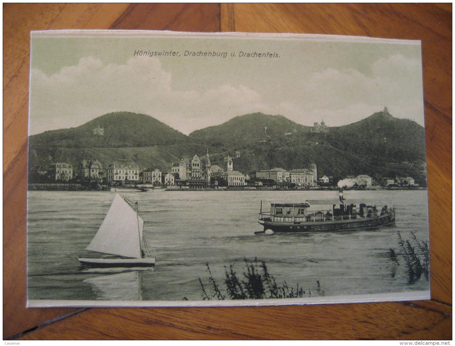 KONIGSWINTER Drachenburg Drachenfels Sailing Boat Ship Post Card North Rhine Westphalia Koln Rhein Sieg Kries Germany - Koenigswinter